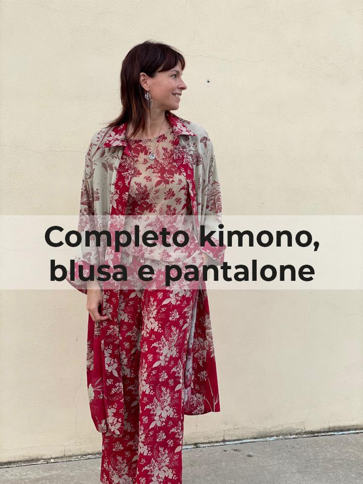Completo kimono, blusa e pantalone